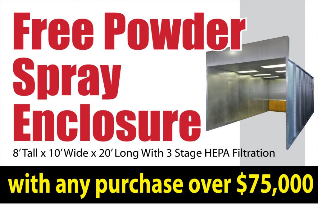 free powder spray enclosure on orders over 75,000